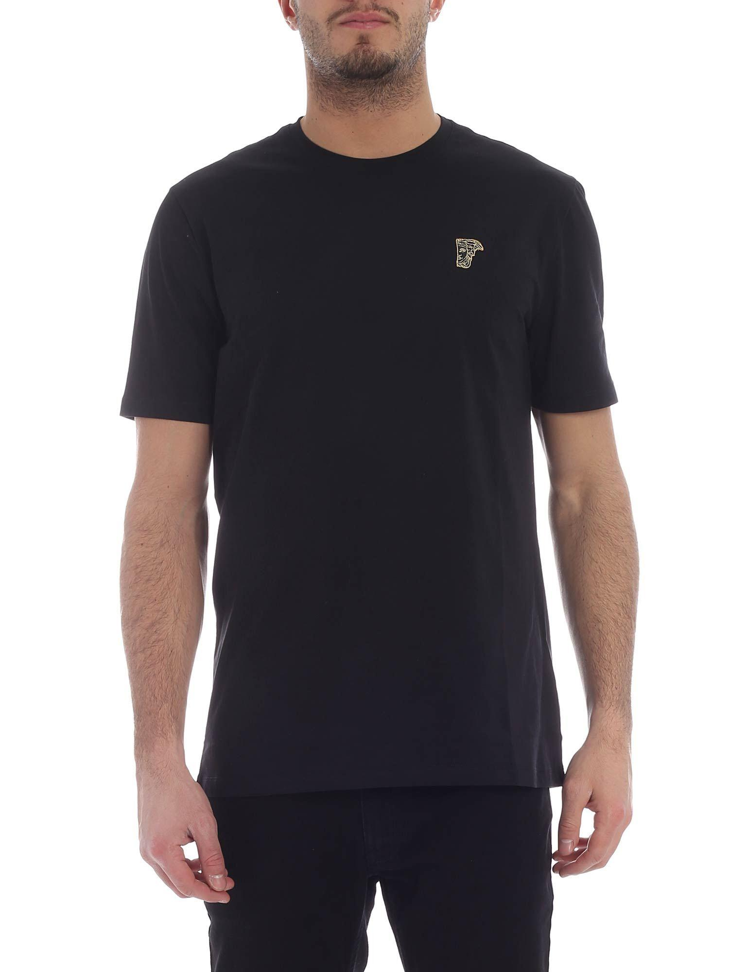 a9512fc053df Lyst - Versace Black Crew-neck T-shirt With Medusa in Black for Men