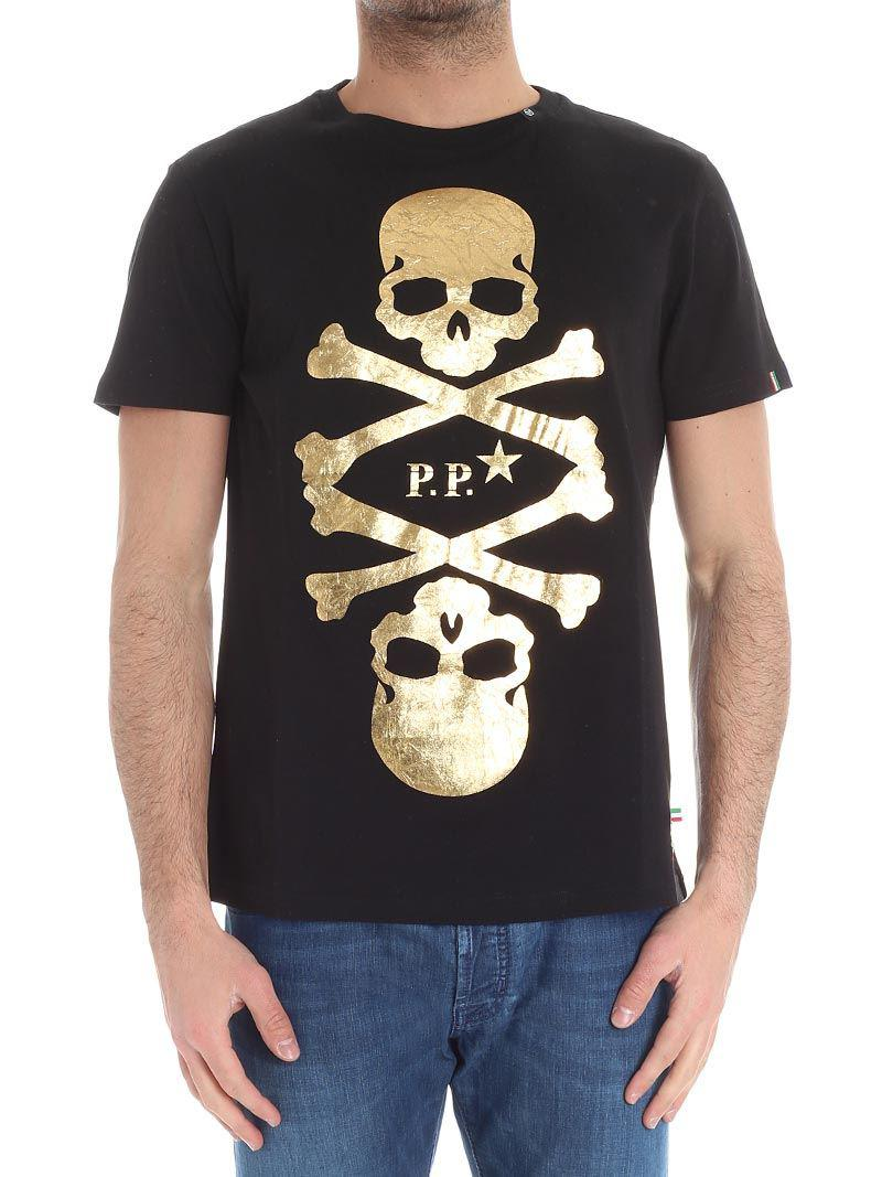 Black T-shirt with golden skull print Philipp Plein Hard Wearing Sale For Nice Fashionable Online Free Shipping Professional FXEShUCaO