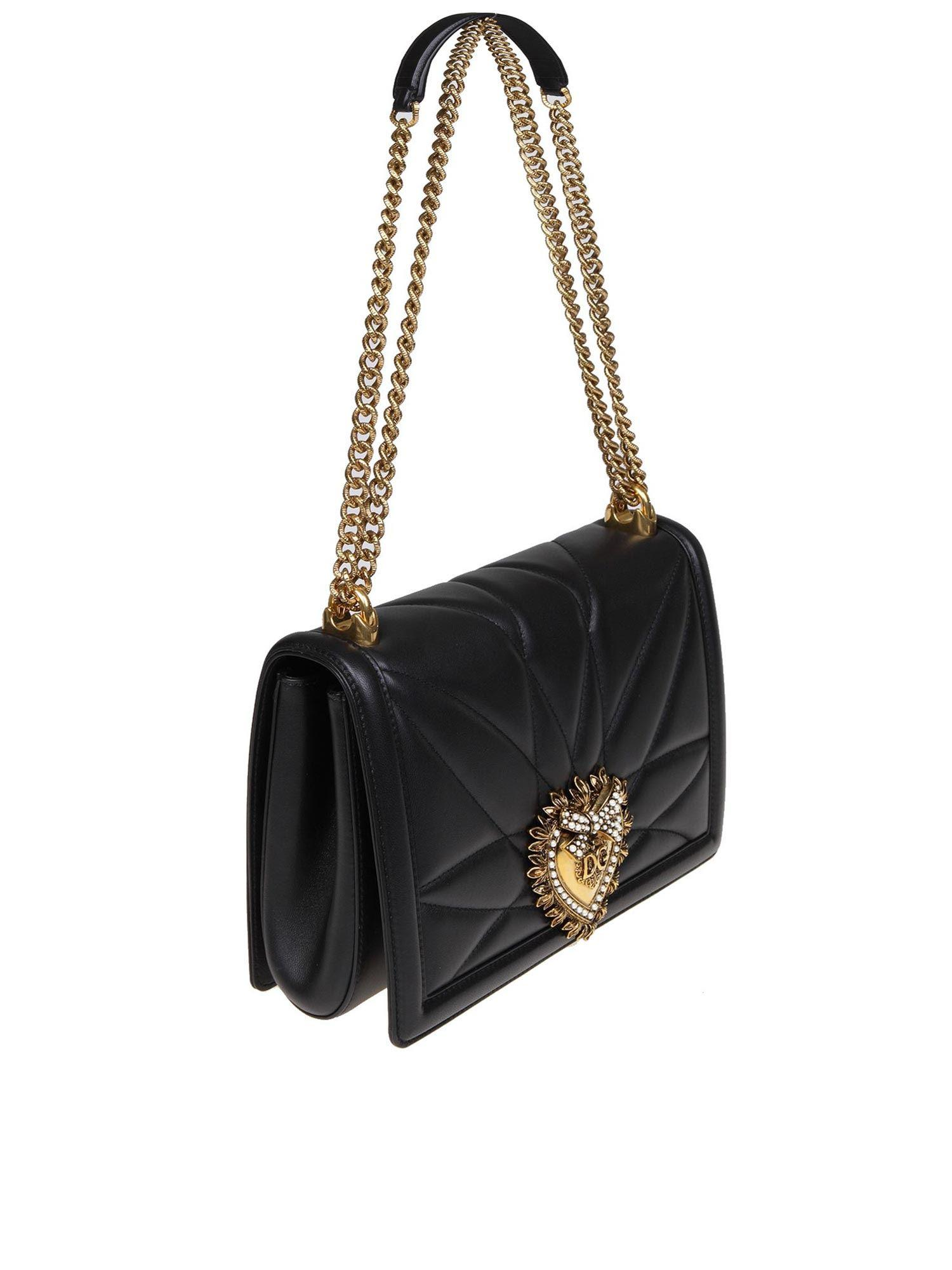 4d76b536ee68 Lyst - Dolce   Gabbana Black Bag In Nappa Devotion D g in Black - Save 8%