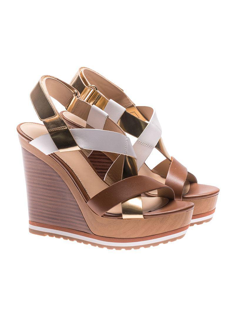 Brown And Golden Mackay Wedge Sandals