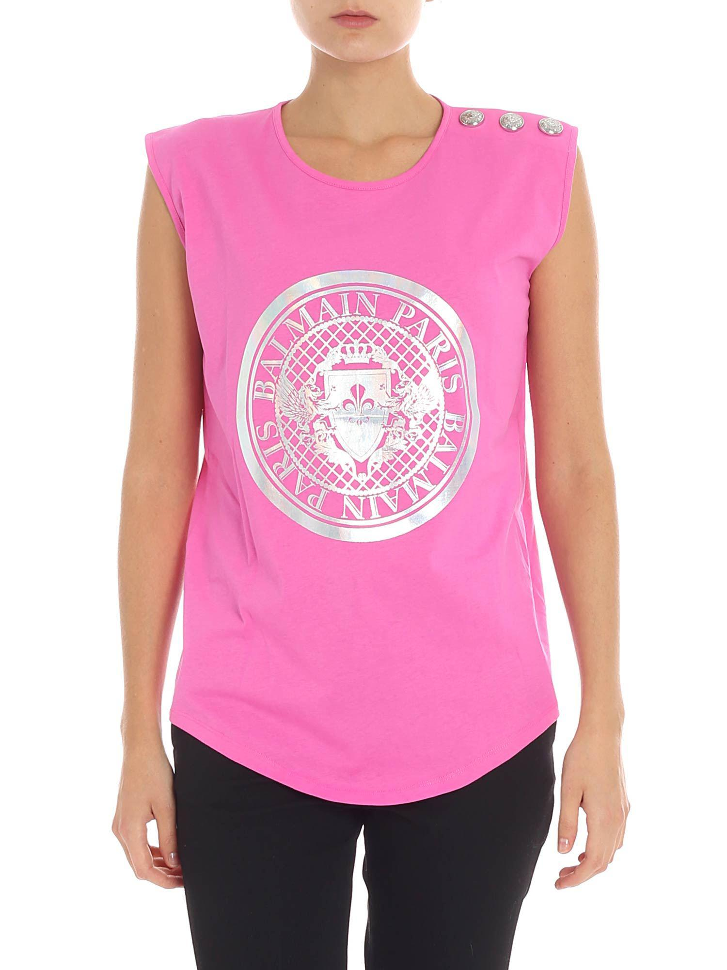 0571d448505285 Balmain Pink Top With Silver Logo Print in Pink - Save 55% - Lyst