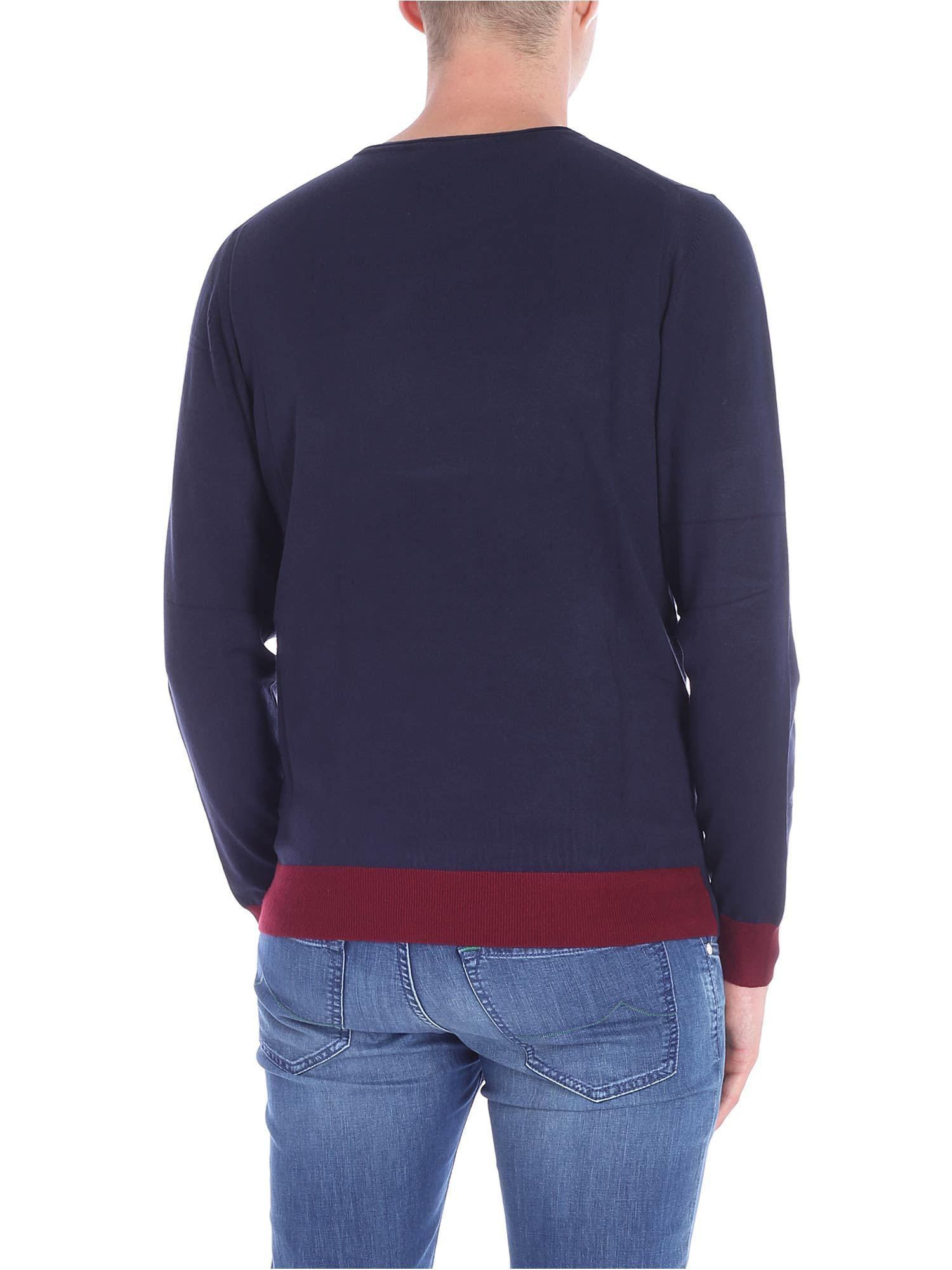 Trussardi Synthetic Blue Crewneck Pullover With Red Edges for Men