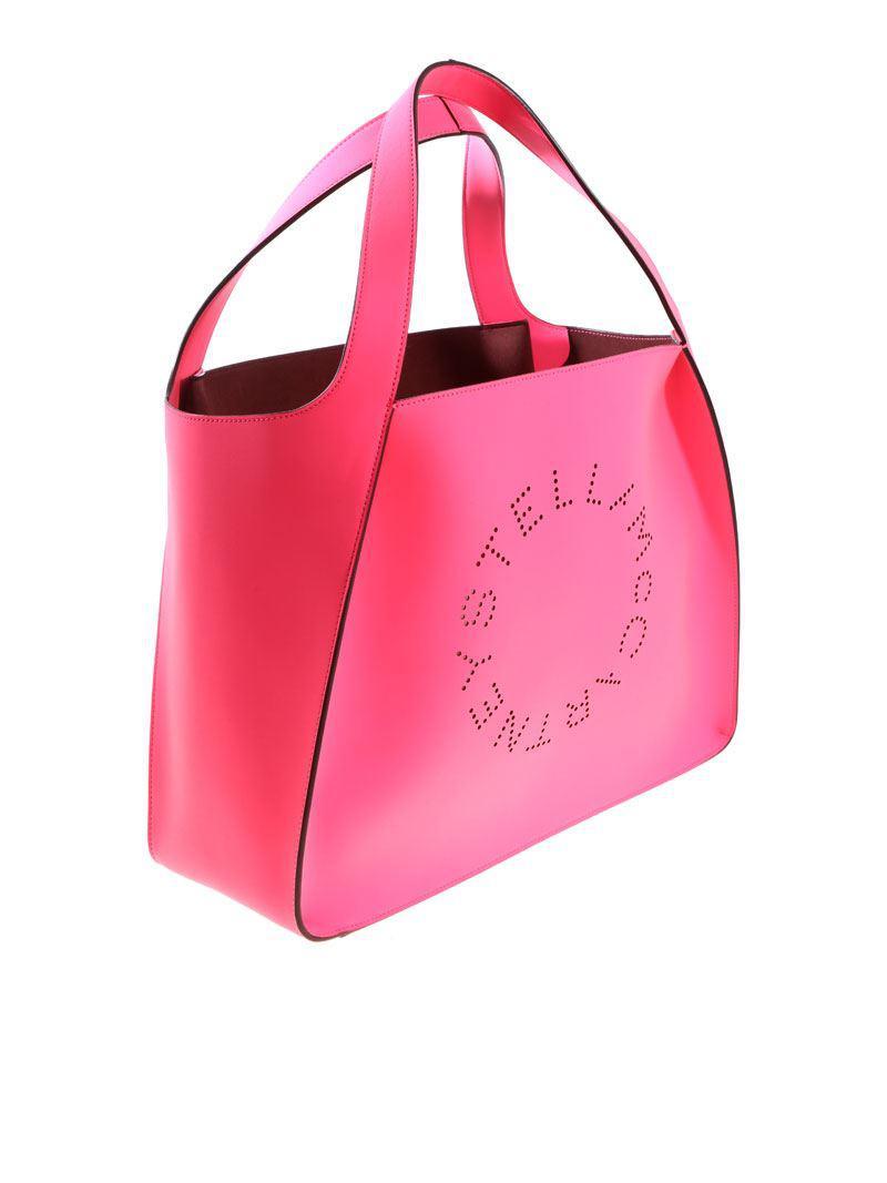 Neon pink tote bag with pierced logo Stella McCartney vGX0VJt