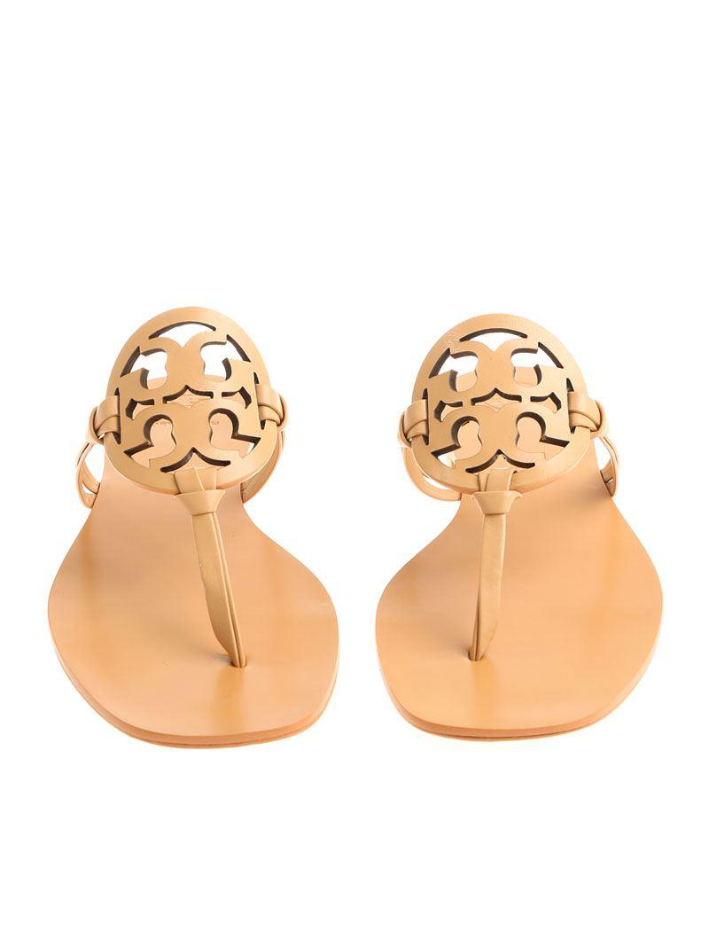 fbbc2bffffab Lyst - Tory Burch Nude Colored Miller Thong Sandals in Natural