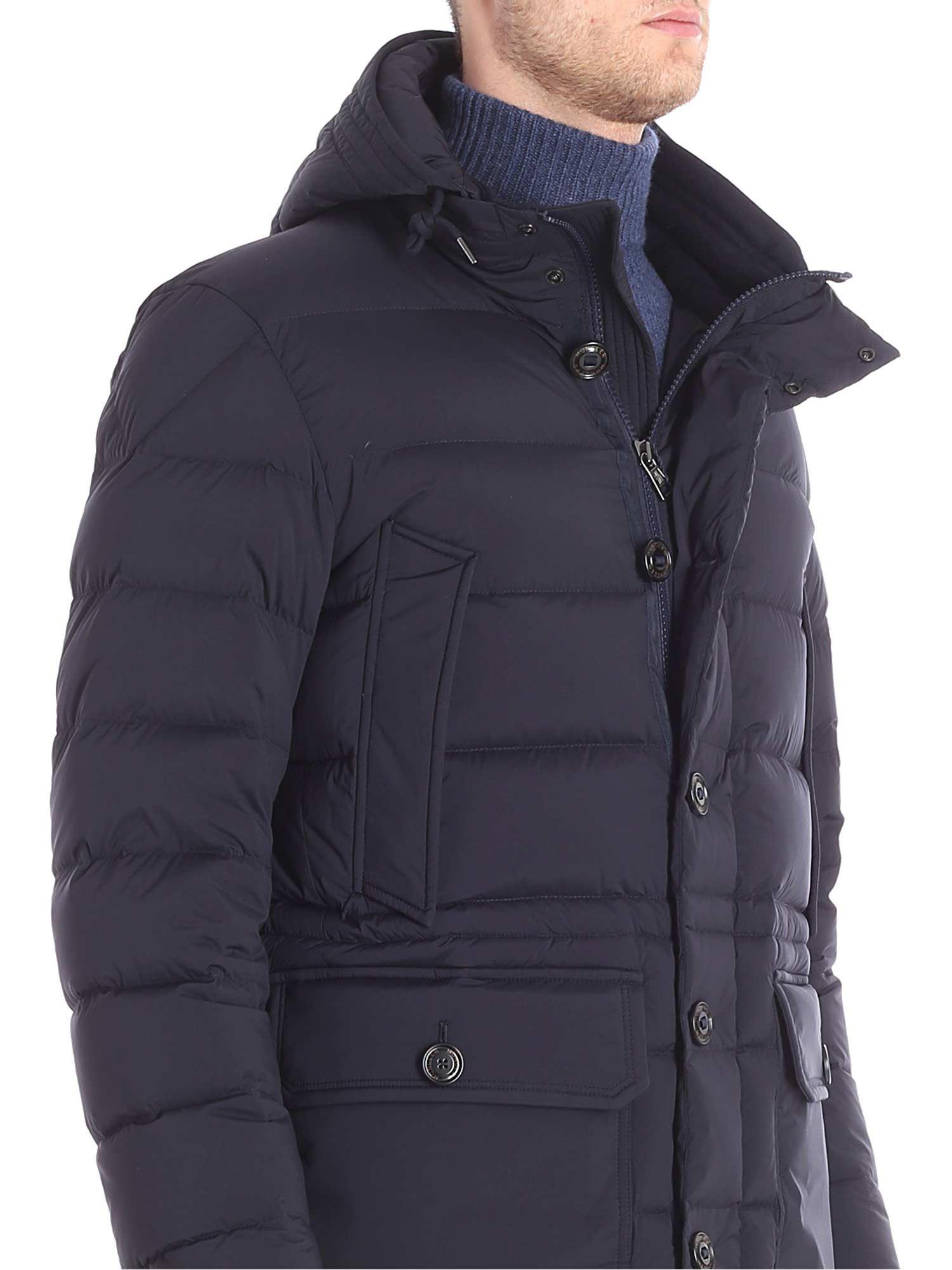 Moncler Leather Blue Reims Hooded Down Jacket for Men