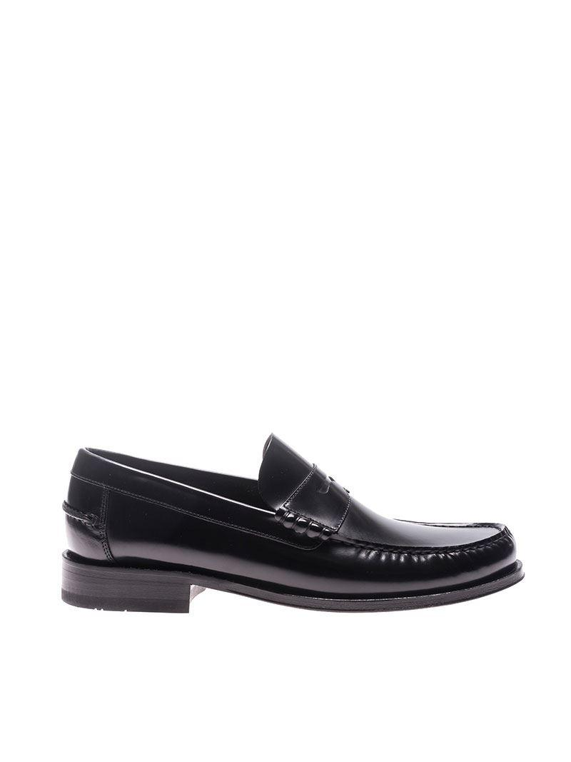 Loake Black Leather Loafers for Men