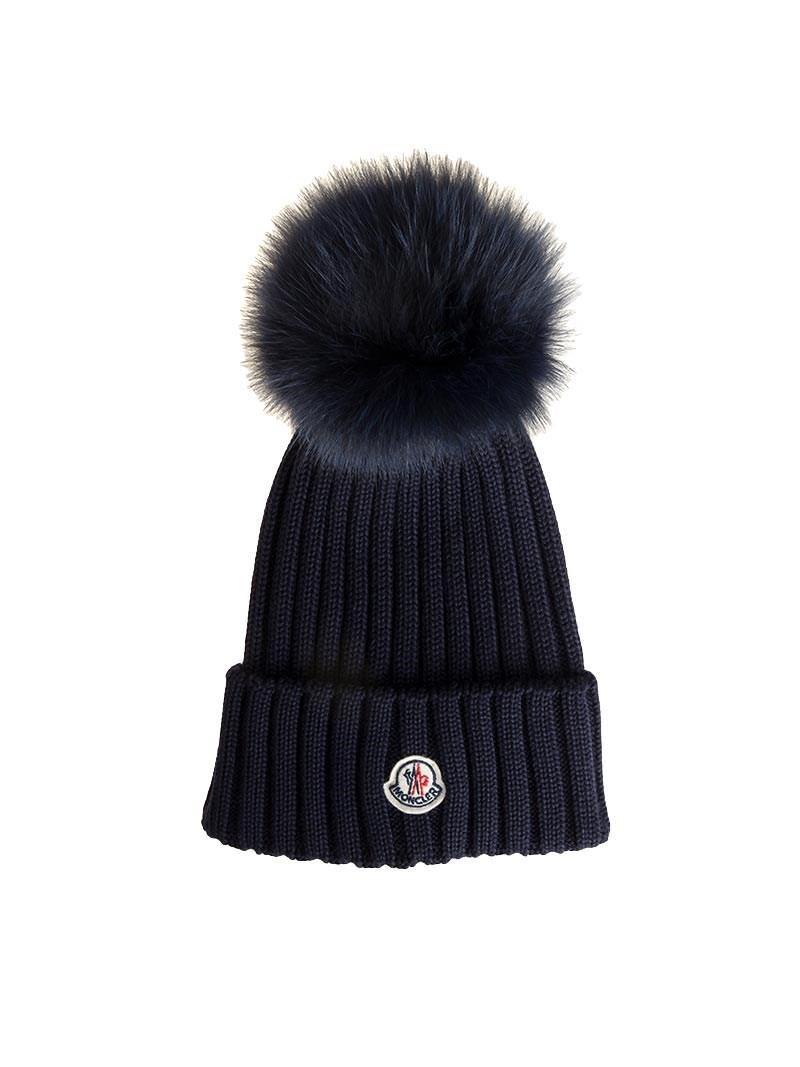 c88e0dece05 Lyst - Moncler Blue Wool Beanie With Pom Pom And Logo in Blue