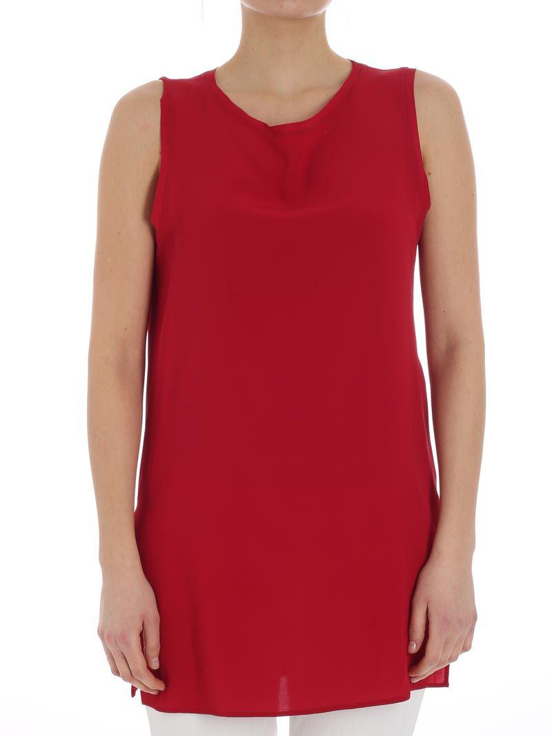 Outlet Manchester Cheap Low Shipping Red silk blend top Ki6? Who are you? COiMK1