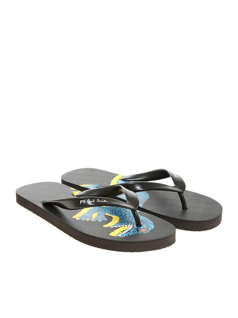 64babeca2c4a Paul Smith Black Flip Flop With Dinosaur Print in Black for Men - Lyst