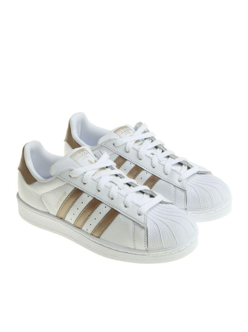 adidas Originals Leather White And Bronze Superstar W Sneakers - Lyst
