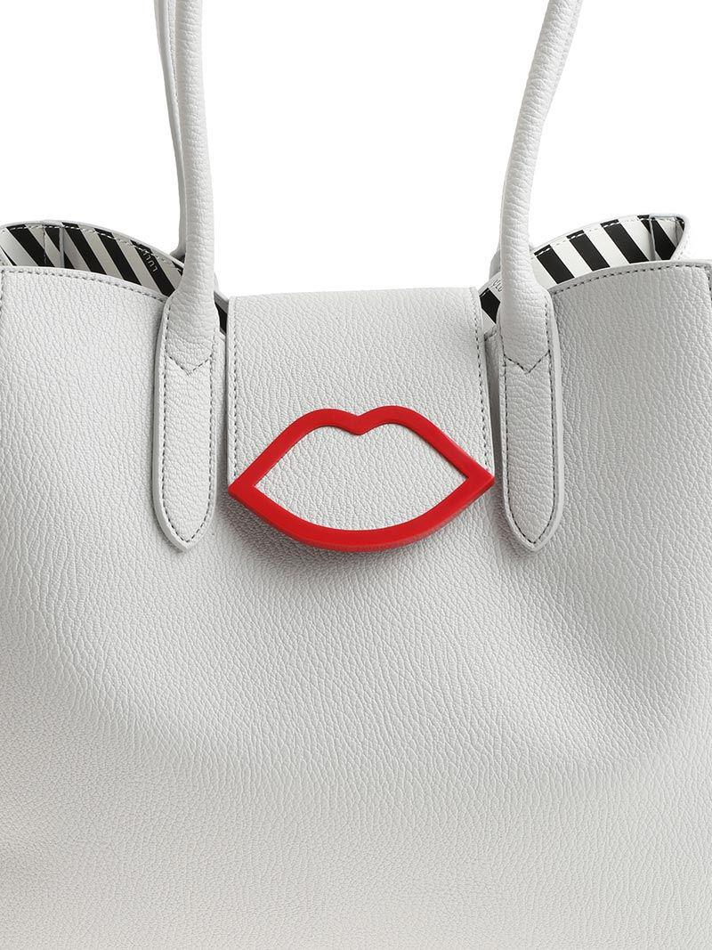 Lulu Guinness Leather Cupids Bow Sofia Tote Bag