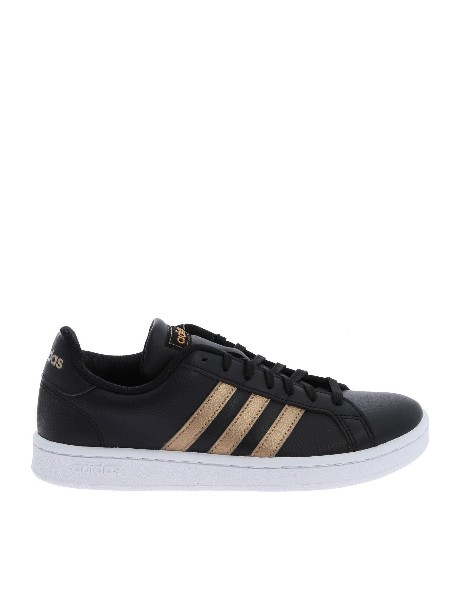 adidas Leather Black And Gold Grand