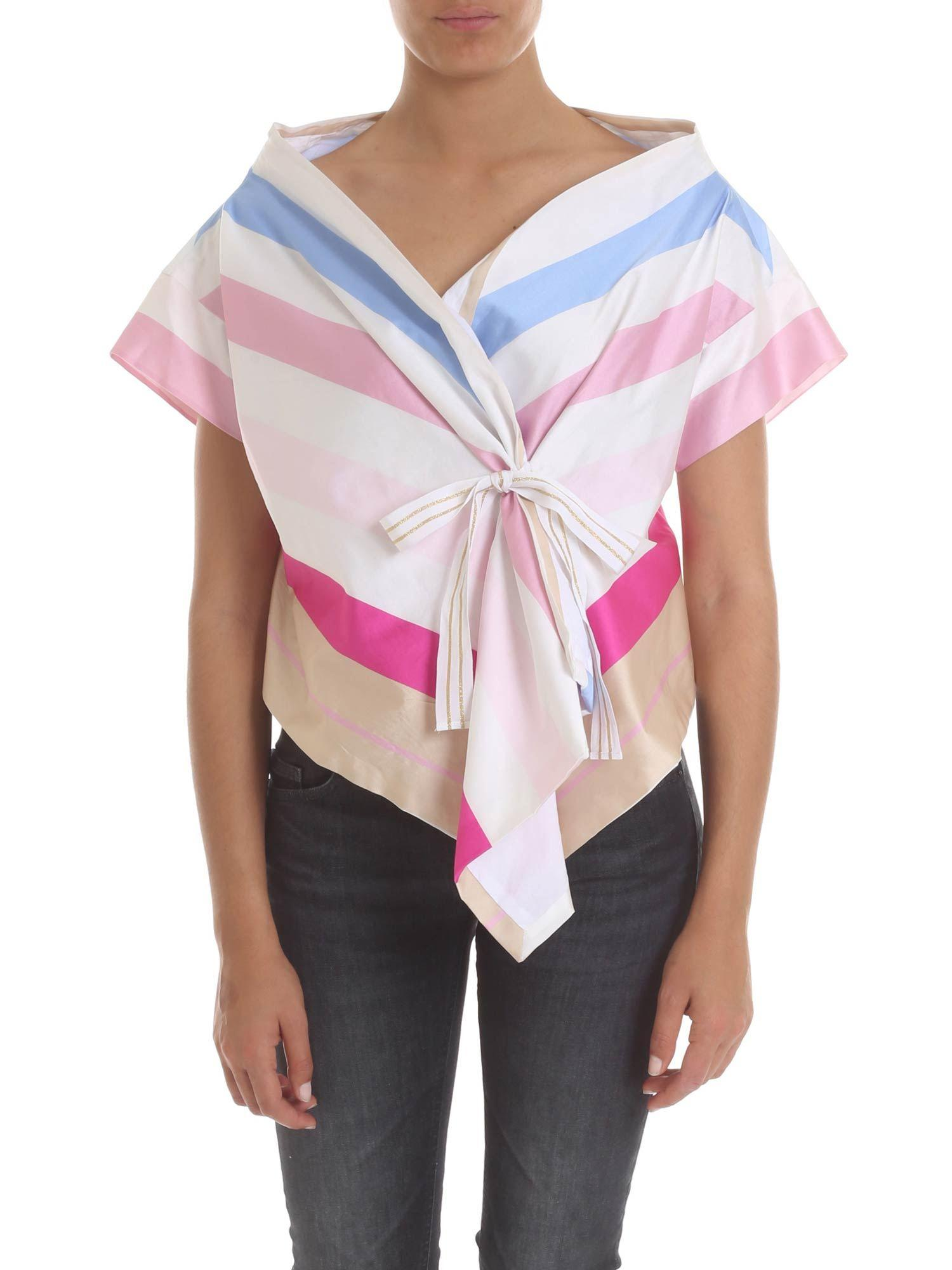 4c9506a9cabd8 Lyst - Manila Grace Asymmetrical Top With Multicolor Stripes in Pink