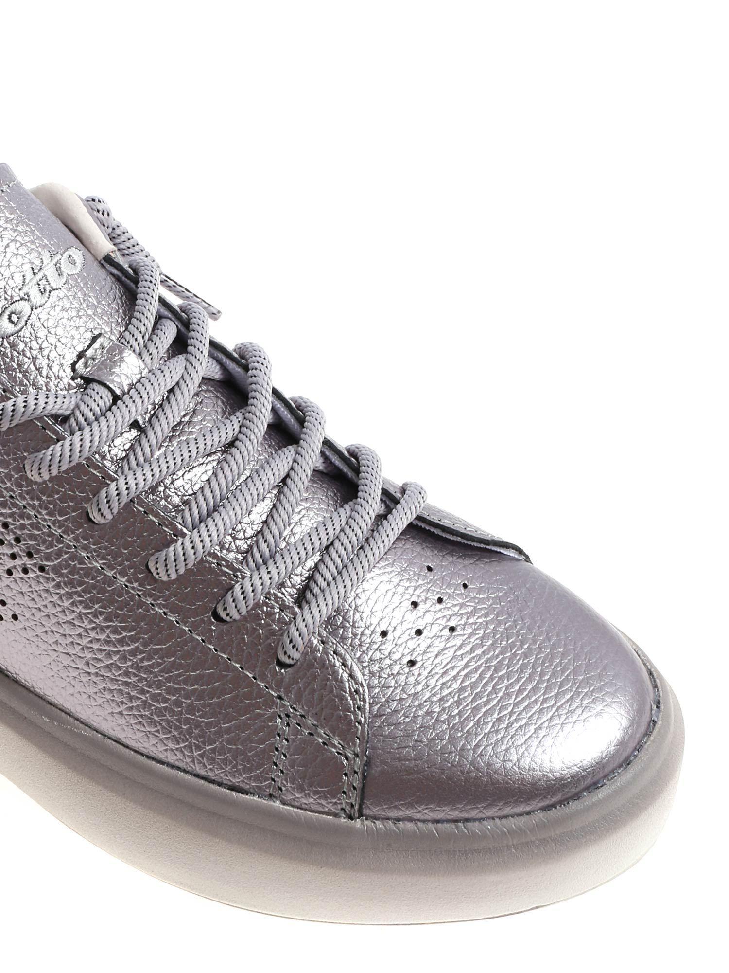 Lotto Leggenda Leather Silver Impressions Metal Sneakers in Metallic