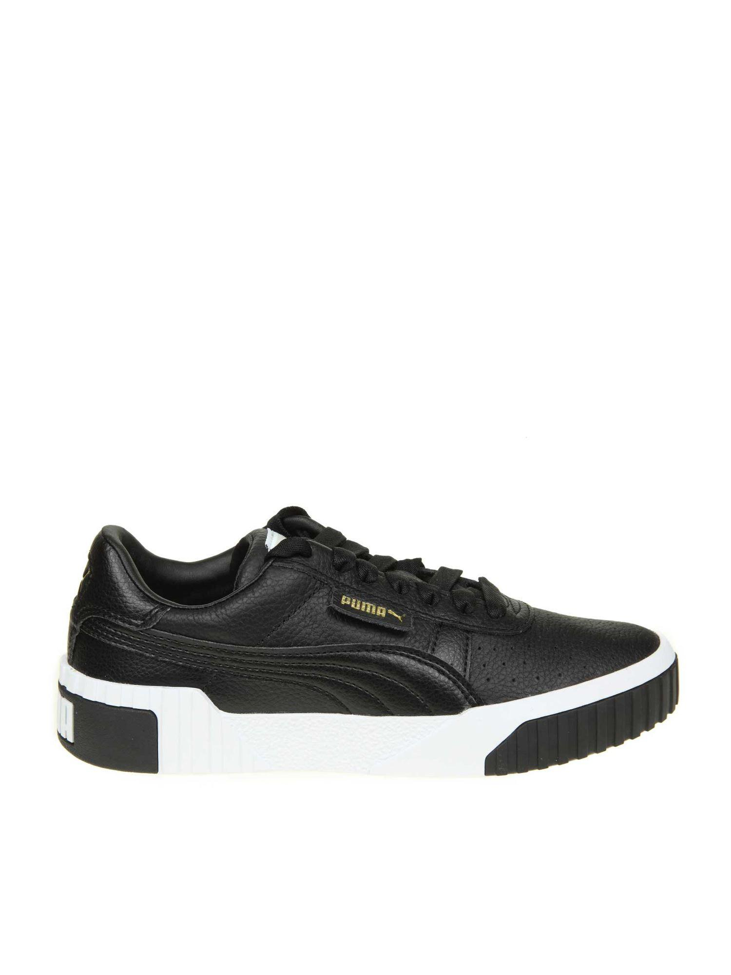 PUMA Leather Cali Wn's Black Sneakers - Lyst