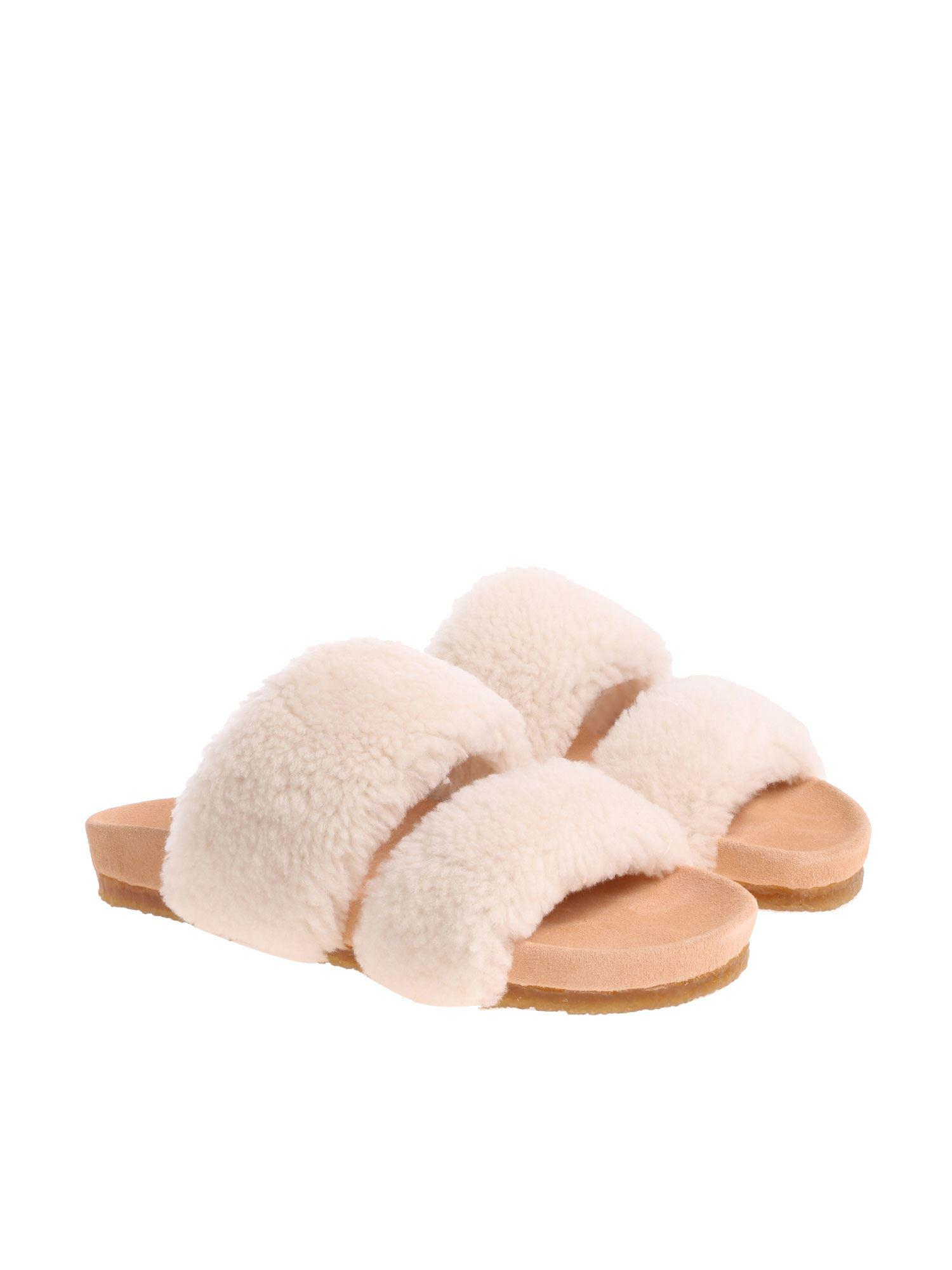 28d0613a9e3c Lyst - Tory Burch Cream-colored Fur Slides in Natural
