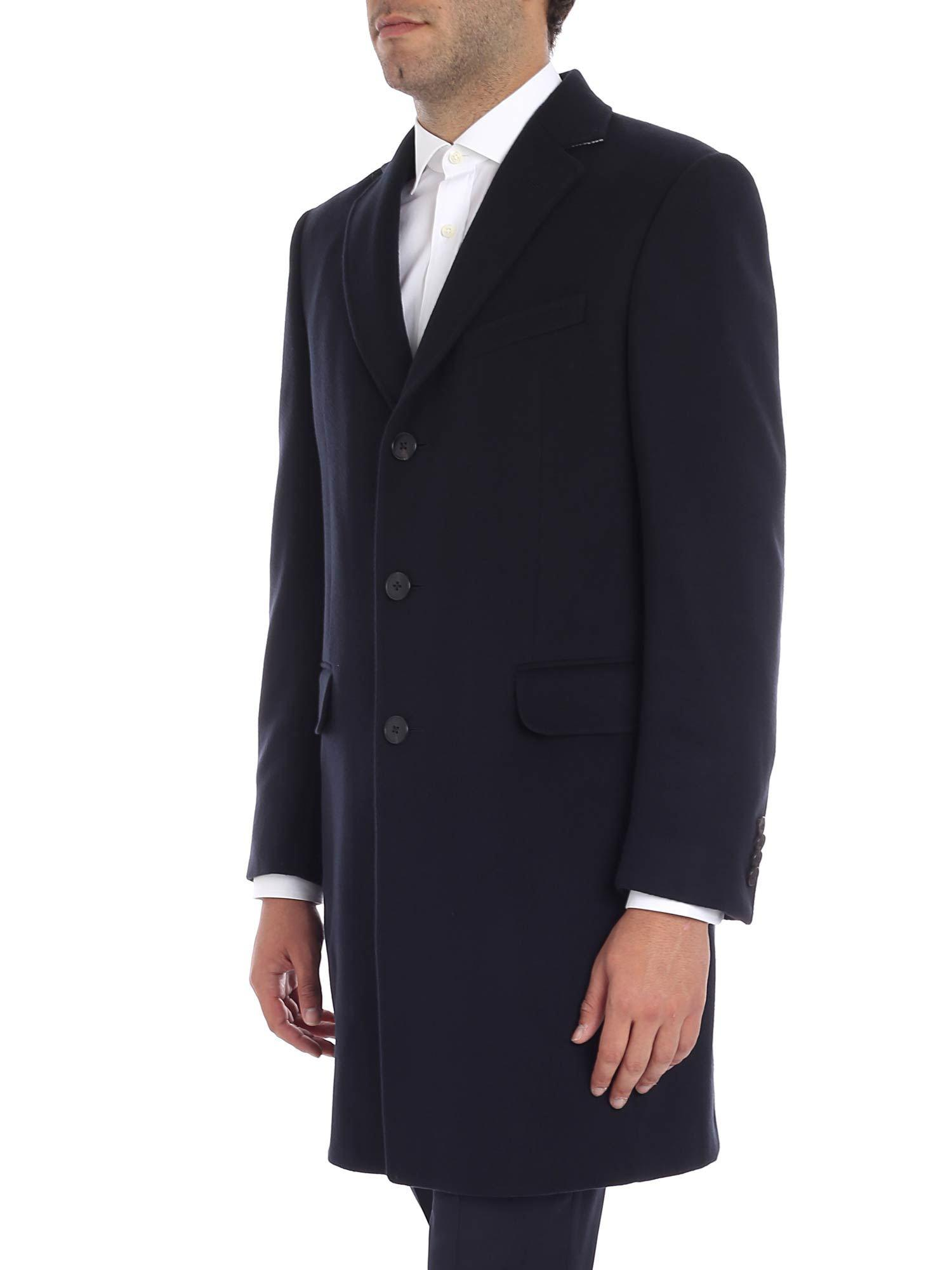 8d892bd0b17 Z Zegna Blue Three Buttons Coat in Blue for Men - Lyst