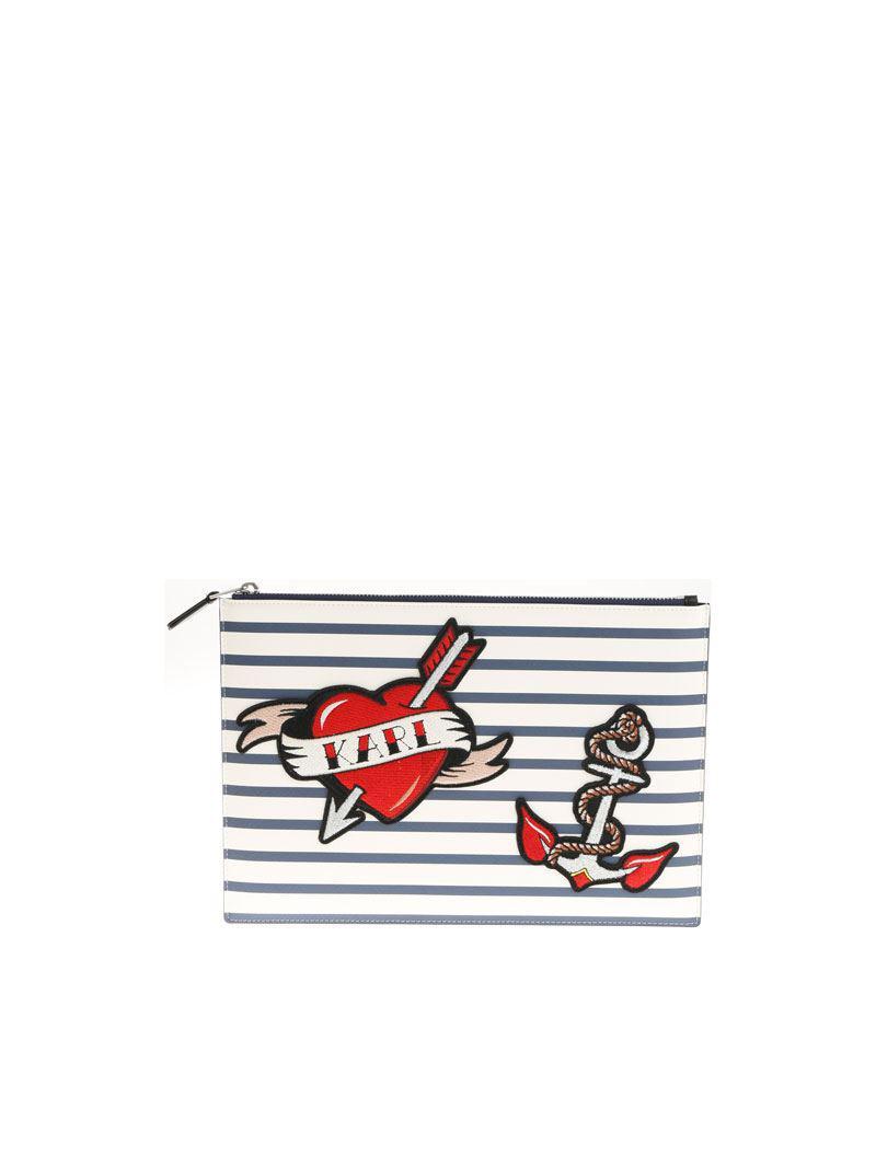 Karl Lagerfeld Commandant L'embrayage À Rayures Karl Rabais Moins Cher Livraison Gratuite Best-seller Rabais Le Plus Récent 2018 La Vente En Ligne enk9n