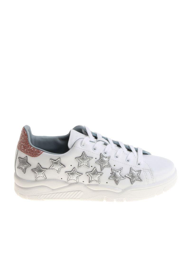 Chiara Ferragni Leather Silver Star Sneakers in Metallic