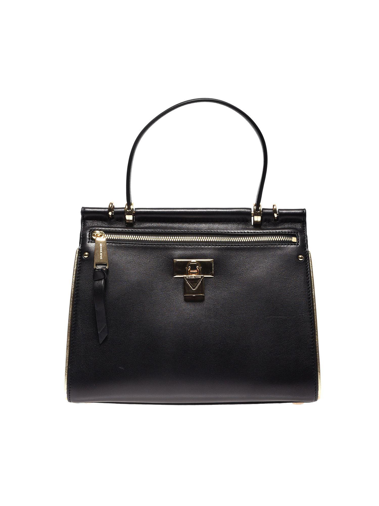 02e58fe14e24 Lyst - Michael Kors Jasmine Medium Bag In Black Leather in Black
