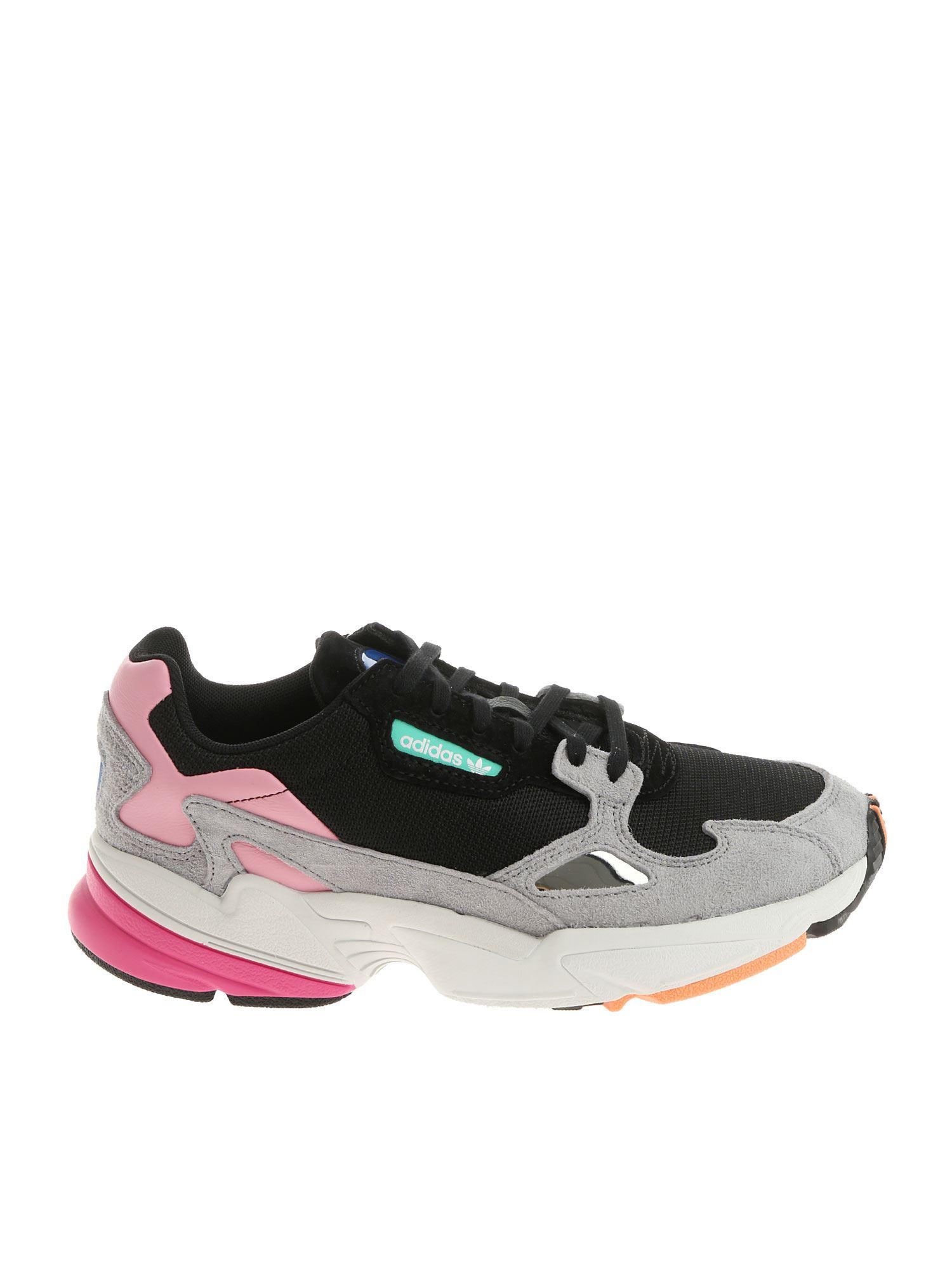 promo code b526f 70cae Lyst - adidas Originals Black Pink And Grey Falcon W Sneakers in Black adidas  sneakers black