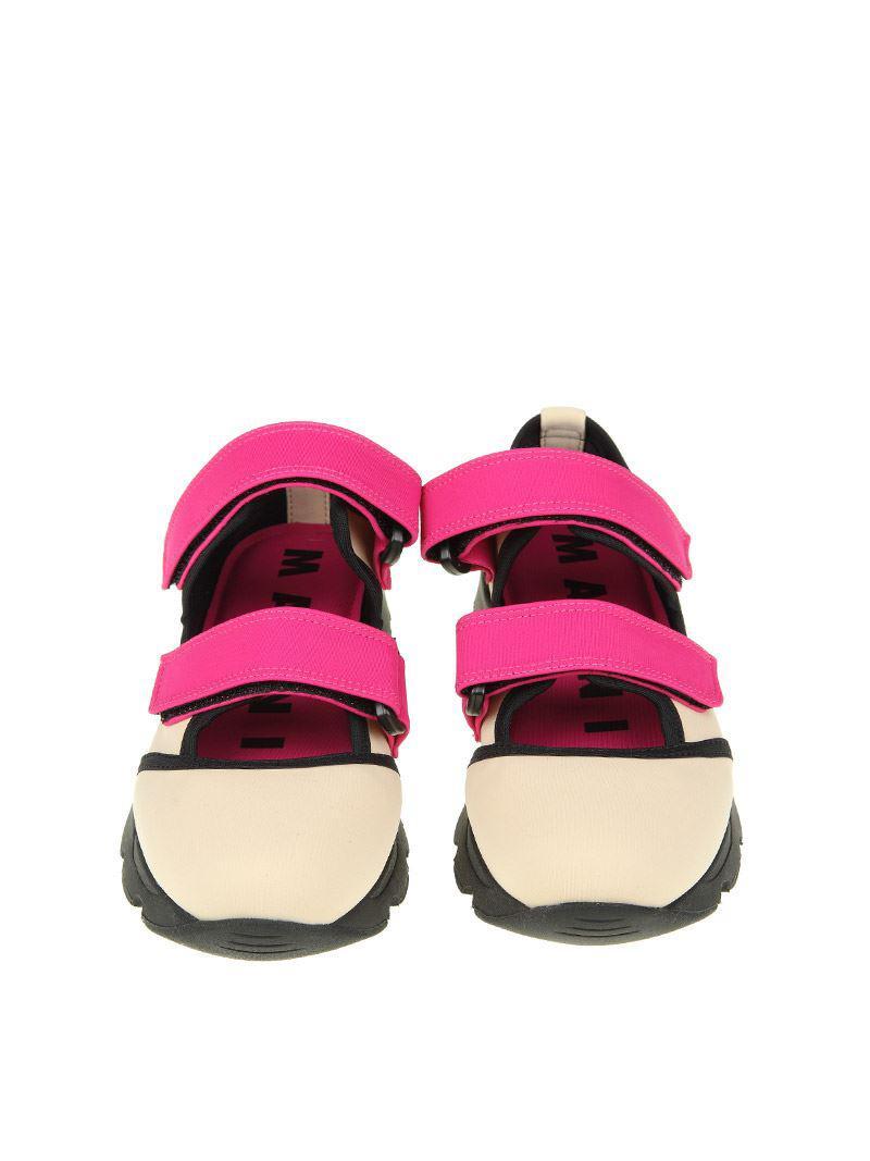 Marni Neoprene Selva On Drill Sneakers in Pink