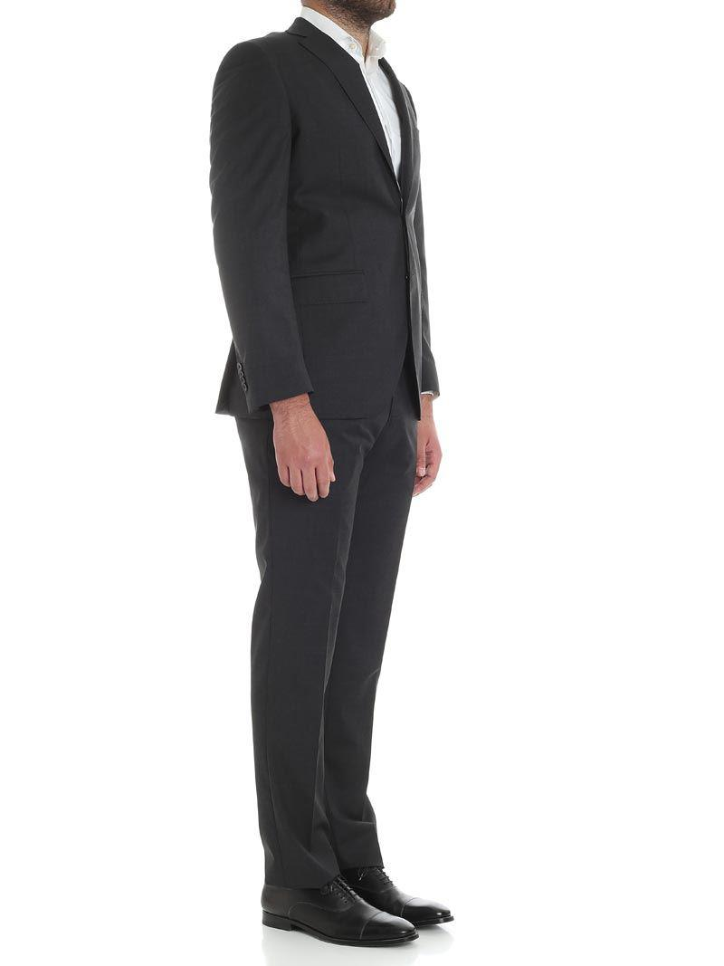 Luigi Bianchi Mantova Anthracite Gray Light Wool Suit for Men