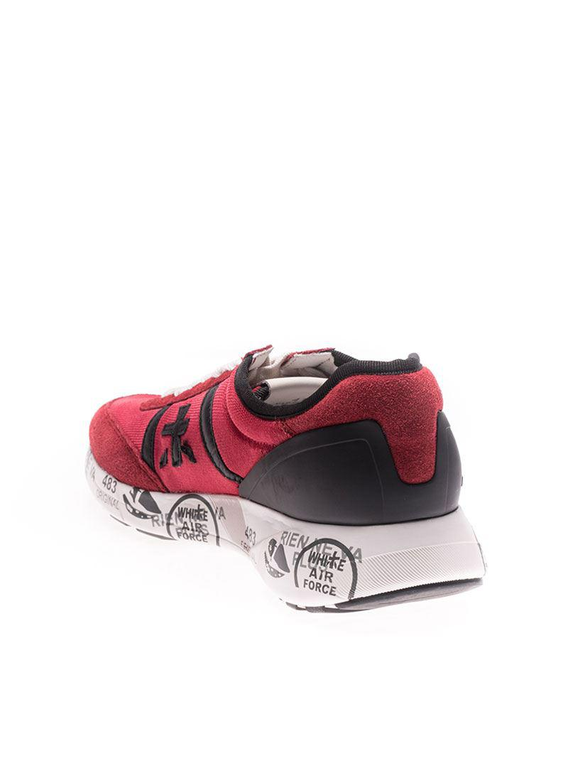 Premiata Leather Hanzo Red Sneakers for Men
