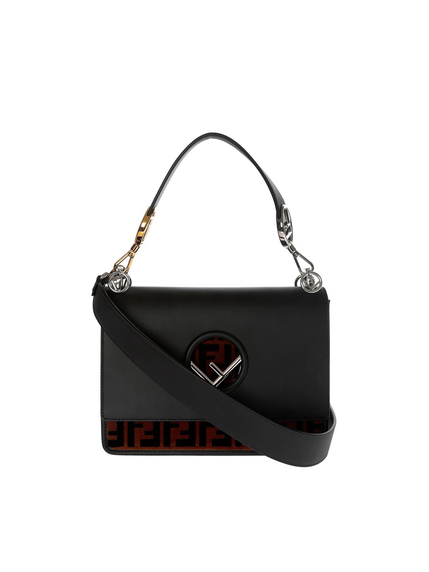 Lyst - Fendi Kan I Black Bag With Ff Carpet in Black 48ee1dbb11925