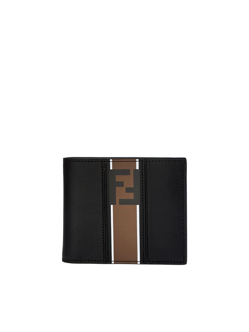 Black Liberty Bi-fold wallet with logo Fendi q0Xb1pgvP