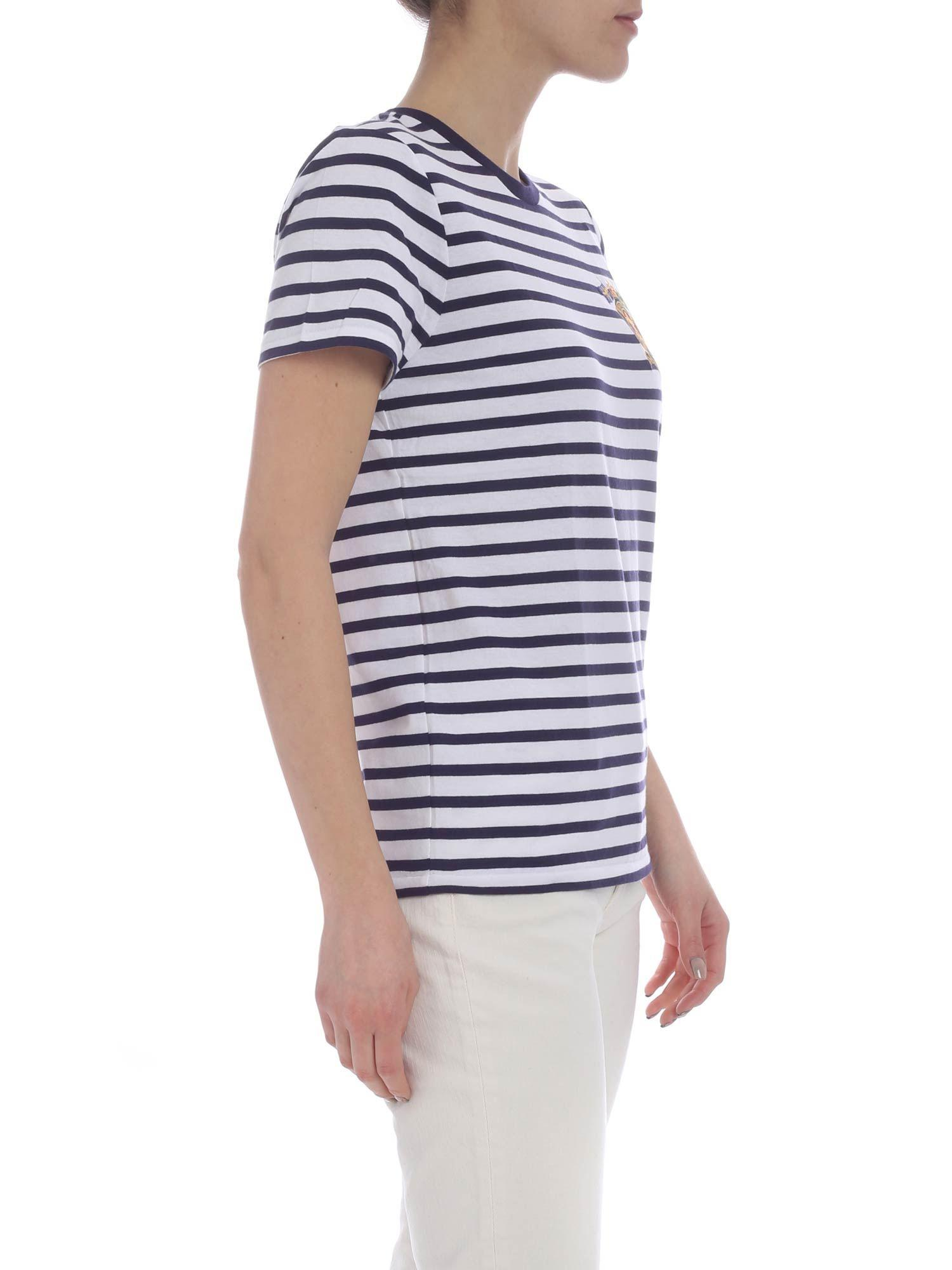 b1ecd6fa3 Polo Ralph Lauren - White And Blue T-shirt With Striped Pattern - Lyst.  View fullscreen