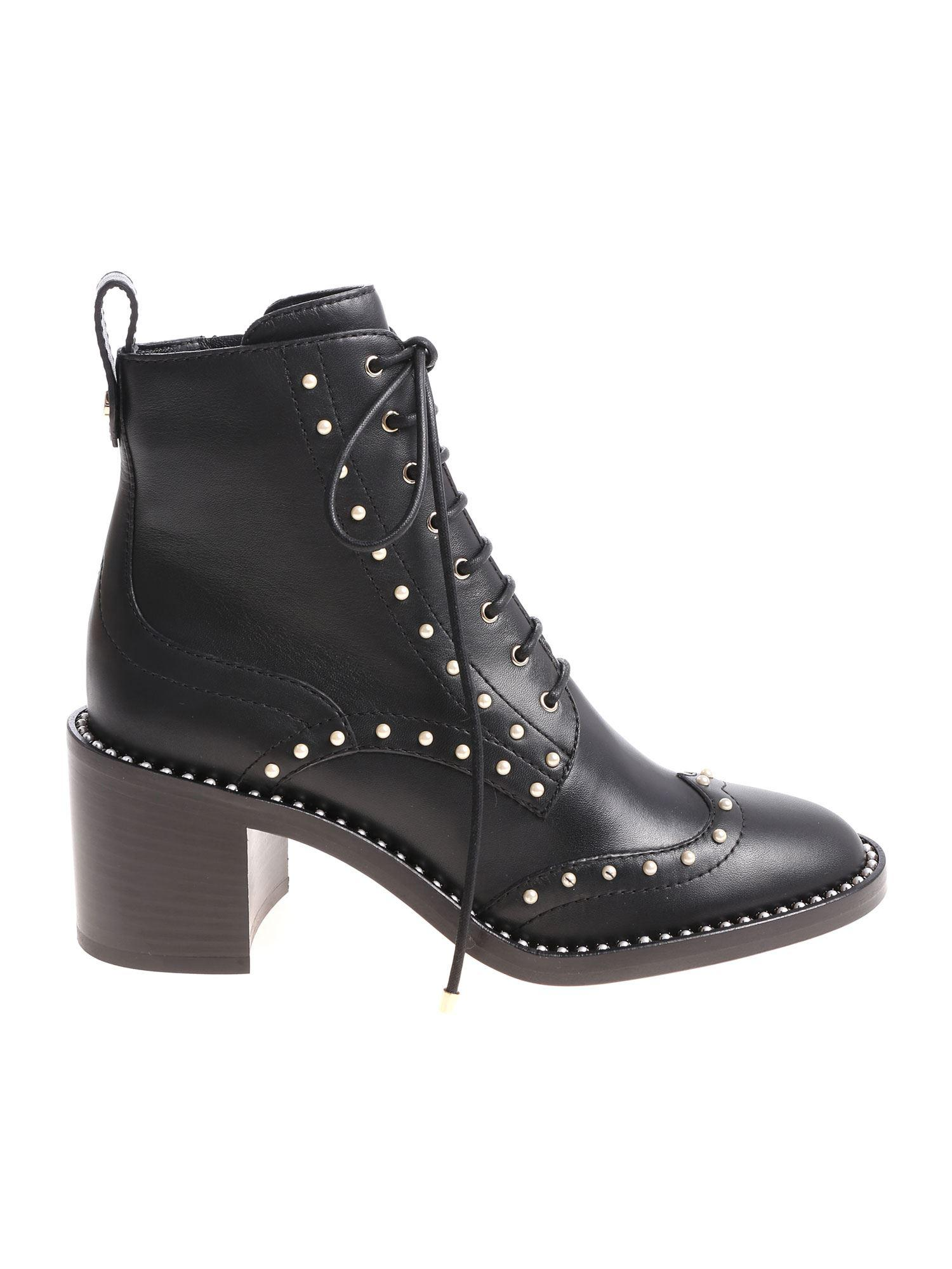e563e5bde0f5 Lyst - Jimmy Choo Black Hanah Ankle Boots With Pearls in Black ...