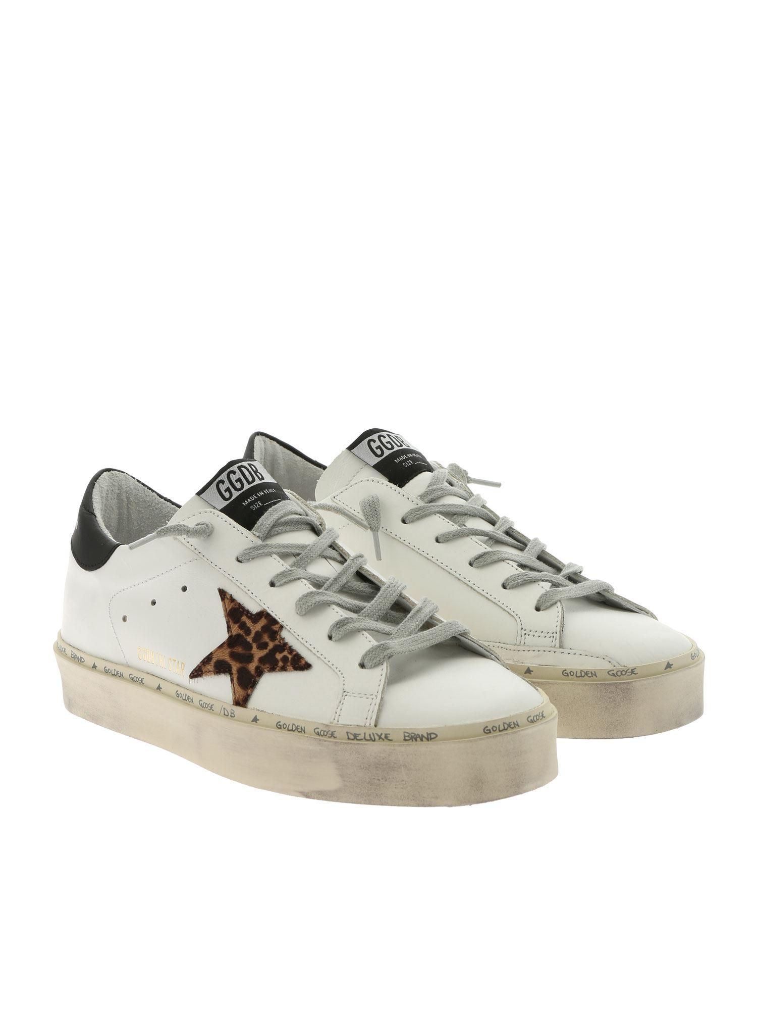 52c21bd03d1d Lyst - Golden Goose Deluxe Brand White Hi Star Sneakers With Animalier Star  in White