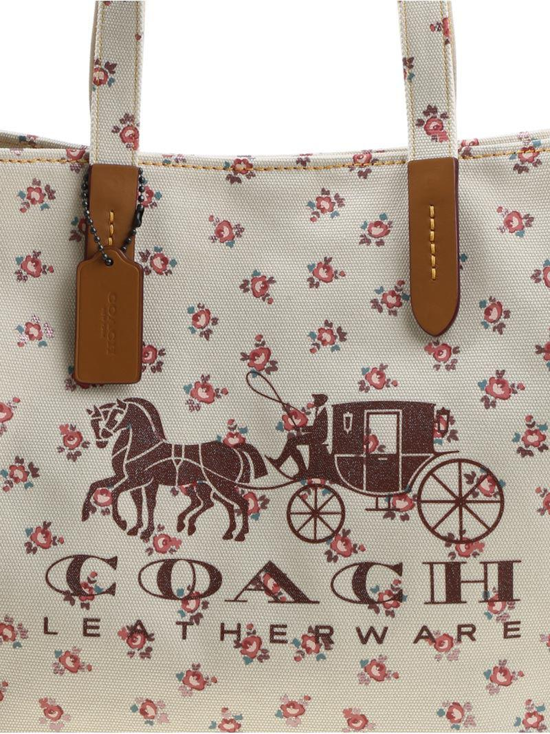 COACH Canvas Tote Bag With Logo And Floral Print