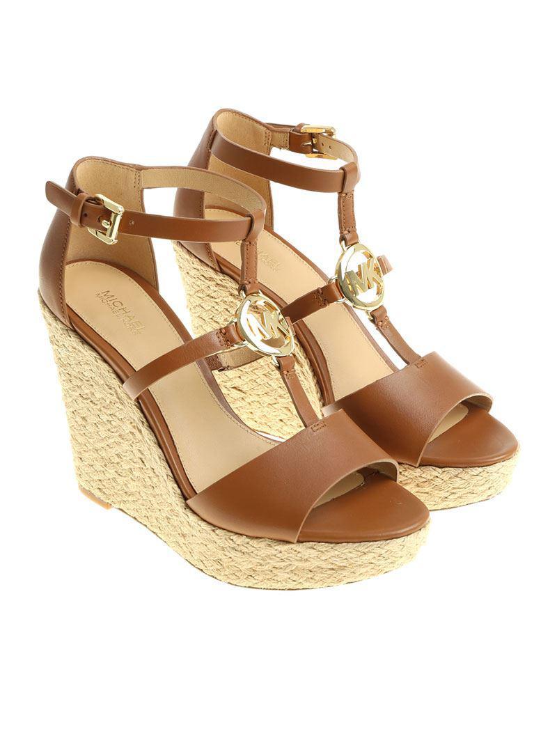8ed8fa85425 Michael Kors Tan Colored Beth Wedge Sandals in Brown - Lyst