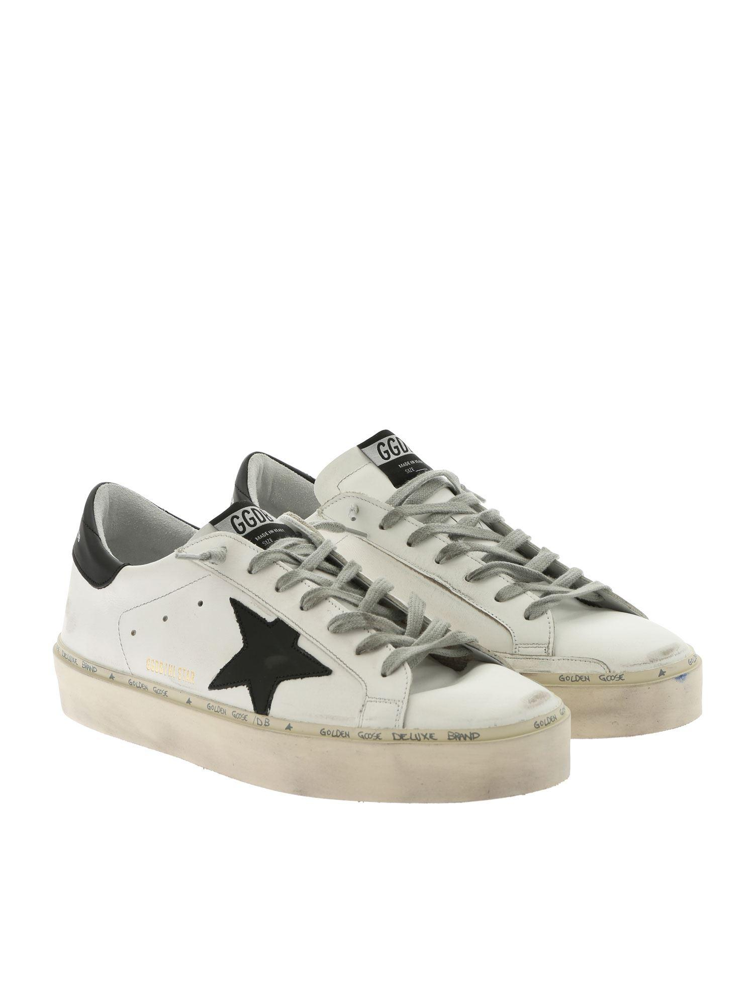 cef7423b04305 Golden Goose Deluxe Brand White Hi Star Sneakers With Black Star in White  for Men - Lyst