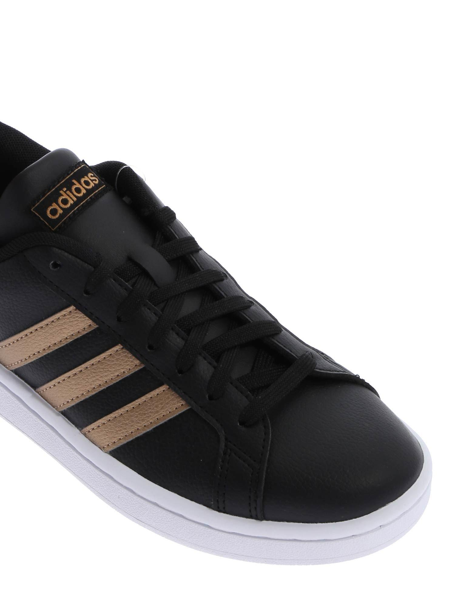 Black And Gold Grand Court Sneakers