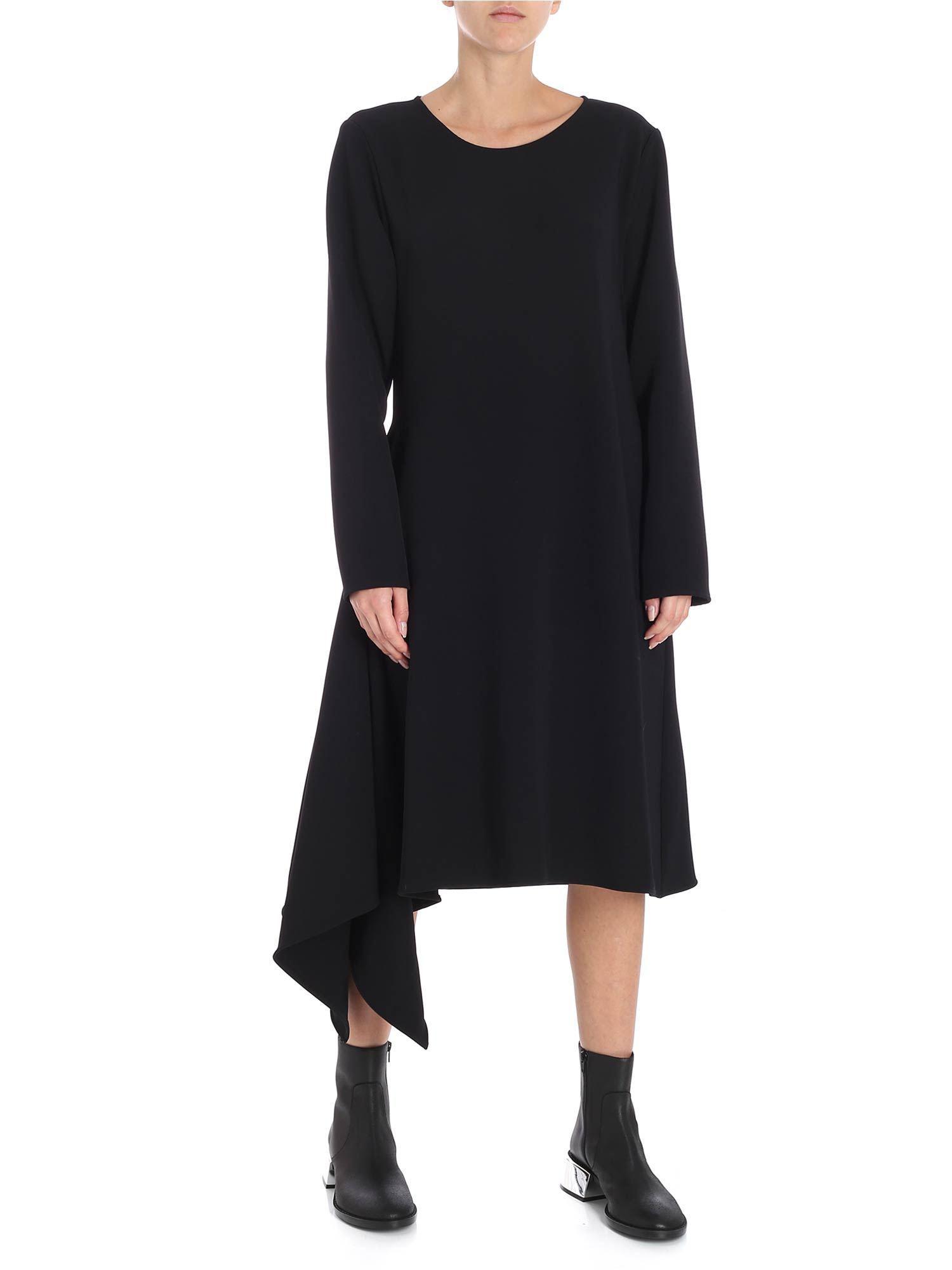 7717e5fb268 MM6 by Maison Martin Margiela Black Asymmetric Long Sleeve Dress in Black -  Lyst