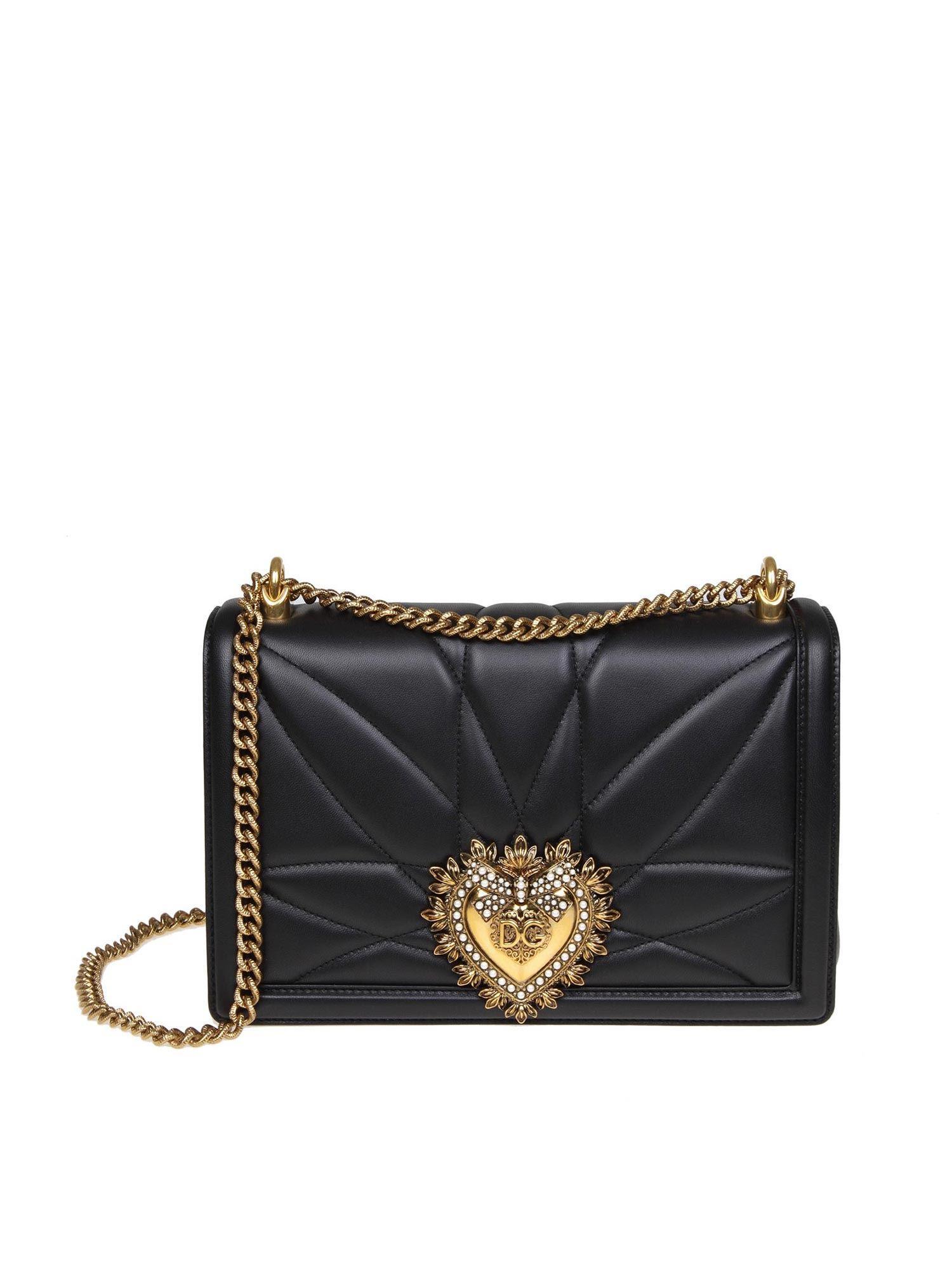 8f21fdaeb6c0 Lyst - Dolce   Gabbana Black Bag In Nappa Devotion D g in Black ...