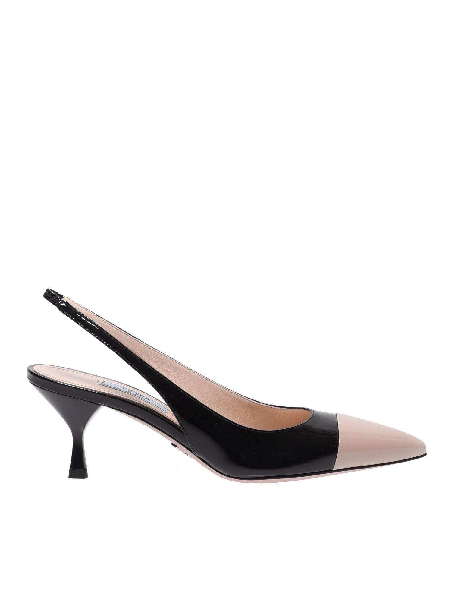 7d03aa57fe47 Prada Sling Back In Black And Pink Leather in Black - Lyst