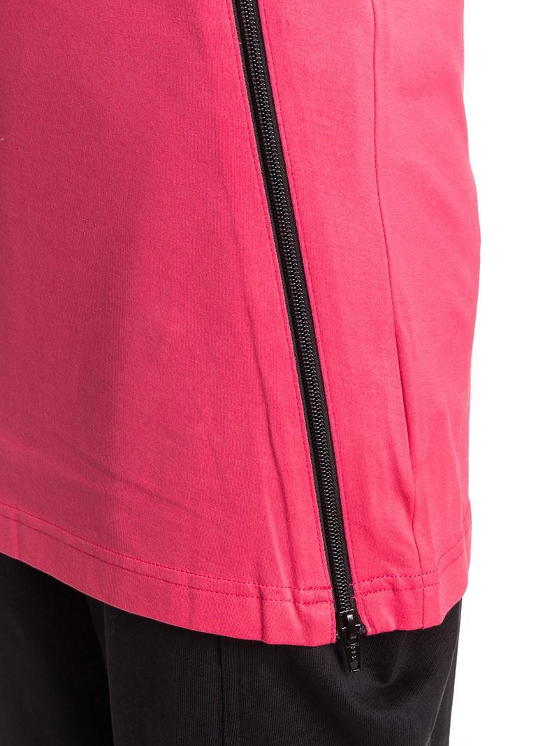 Y-3 Cotton Jersey Zip Tank in Pink