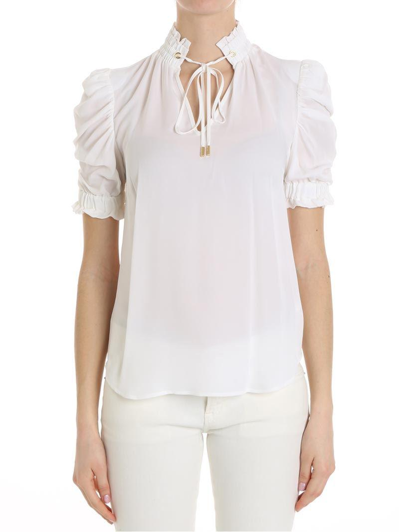 bc05147a6189a Lyst - Michael Kors White Top With Bow in White