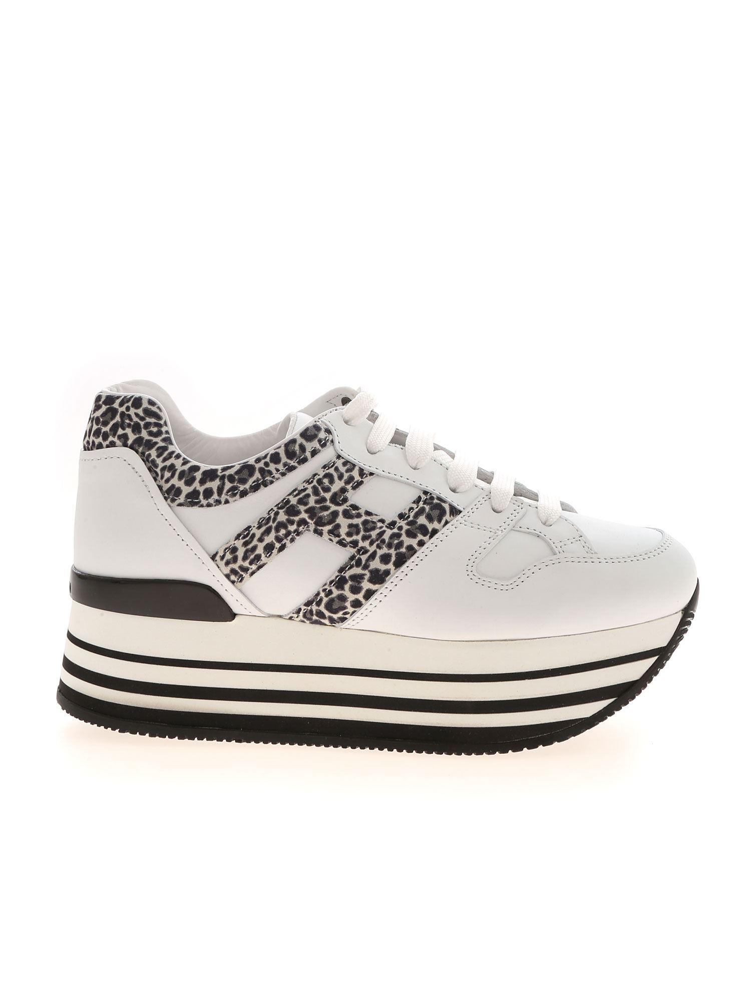 Hogan Leather Maxi Platform H283 Sneakers in Green,White (White ...