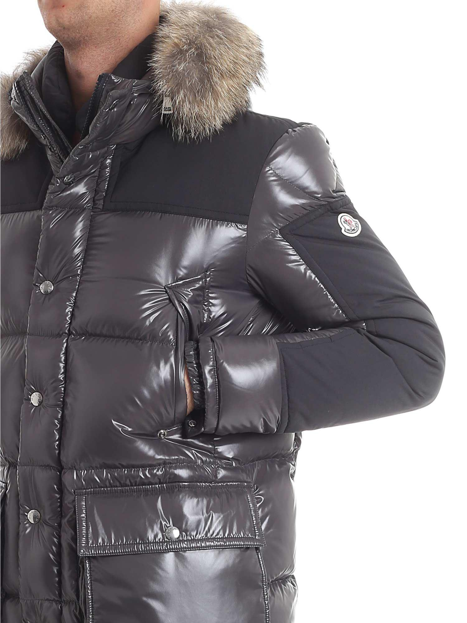 Moncler Frey Grey Down Jacket With Fur Insert in Gray for