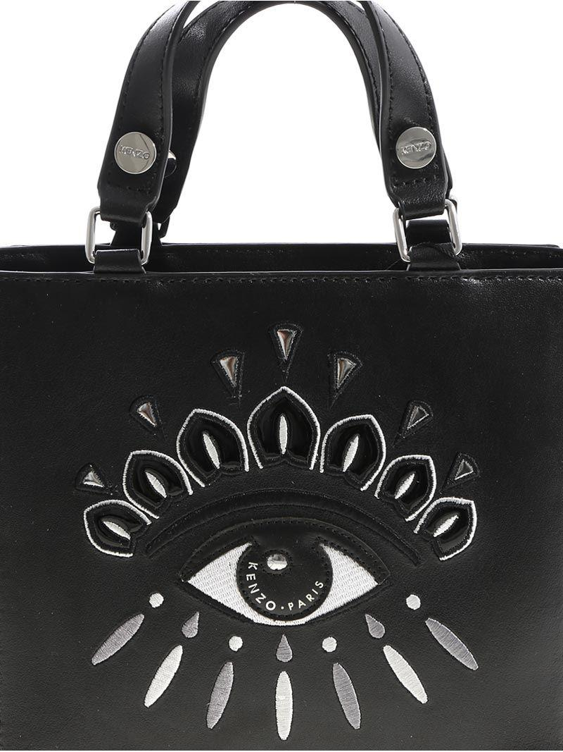 KENZO Leather Eye Tote Small Bag in Black