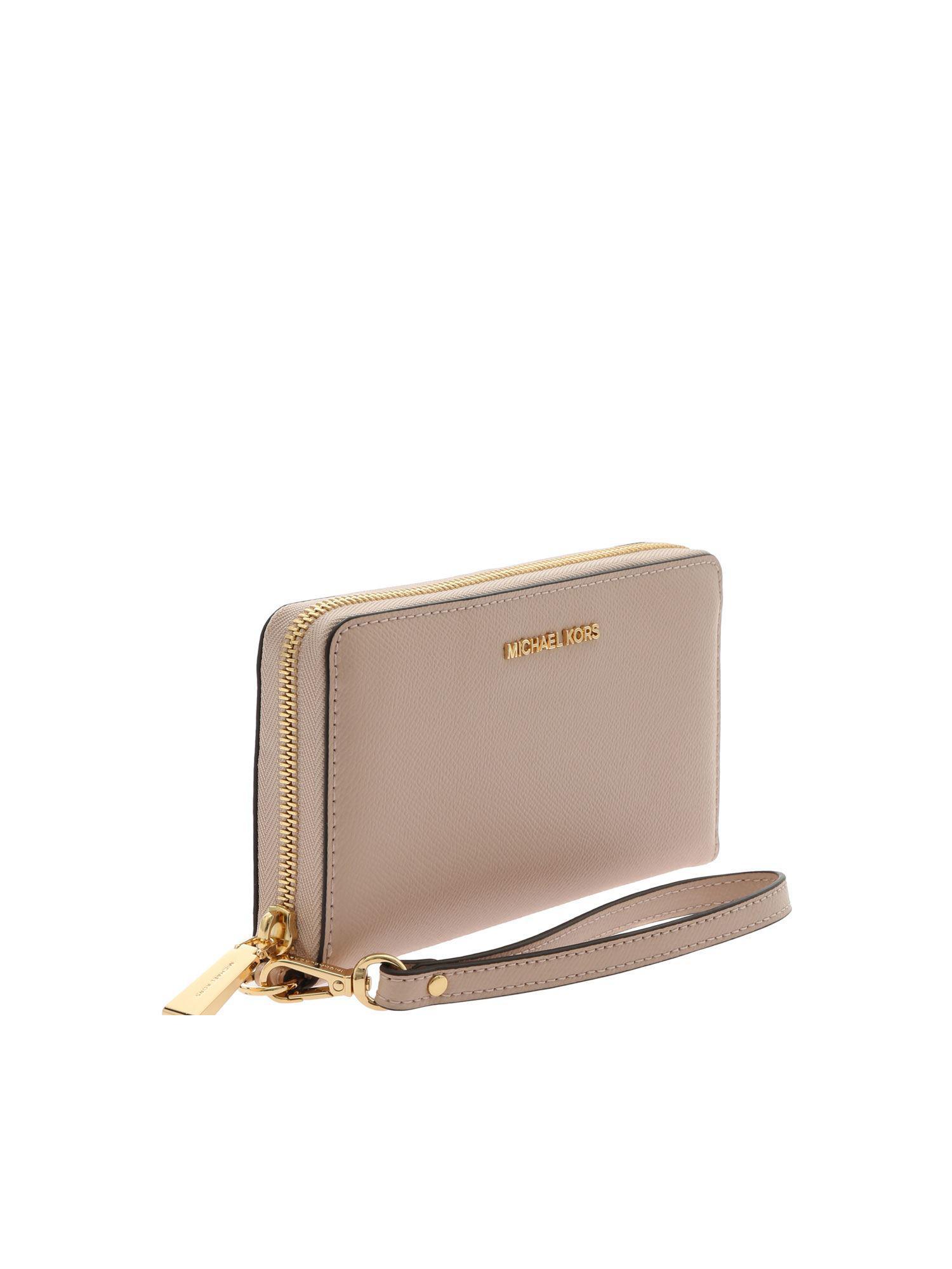 debc1d261548 Michael Kors - Multicolor Jet Set Travel Wallet In Pink Leather - Lyst.  View fullscreen