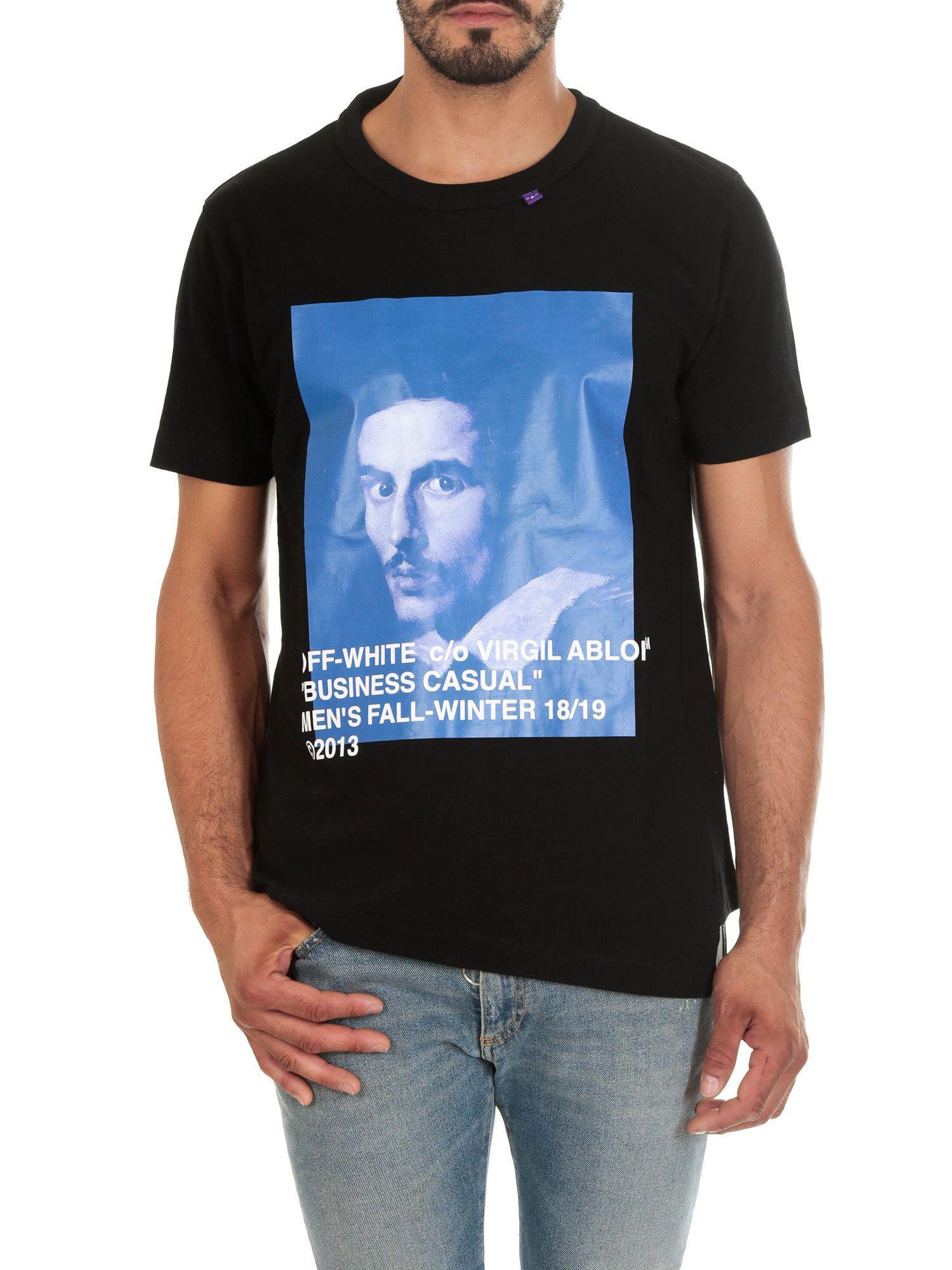a92c320e3 Off-White c/o Virgil Abloh. Men's White Bernini Asymmetric black T-shirt