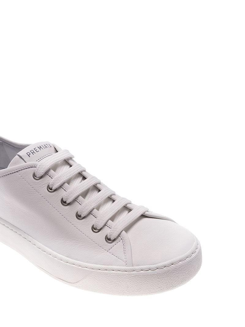 Premiata Leather White Sneakers With Silver Coating