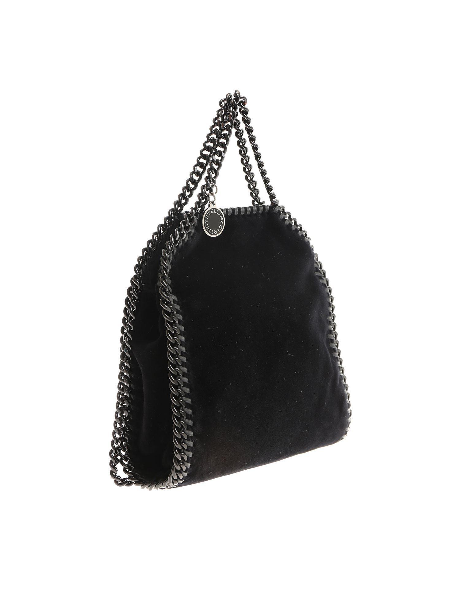 9e1f944b88 Lyst - Stella McCartney Black Falabella Tiny Velvet Bag in Black