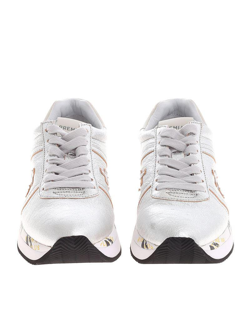 Premiata Leather Silver Conny Sneakers in Metallic